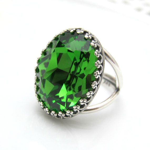 Green Ring Sterling Silver