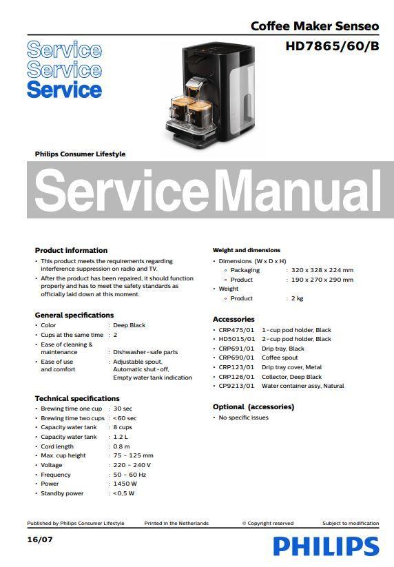 Philips HD7865//80 Senseo Quadrante