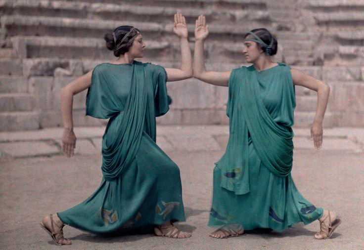 Two actresses at Delphi Festival adorn costumes of classical Greece, December 1930. (Maynard Owen Williams, National Geographic)