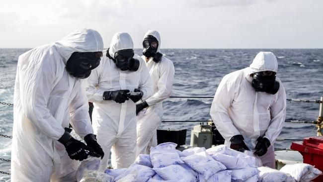 HMAS Darwin: Australian navy warship seizes $800m heroin haul.
