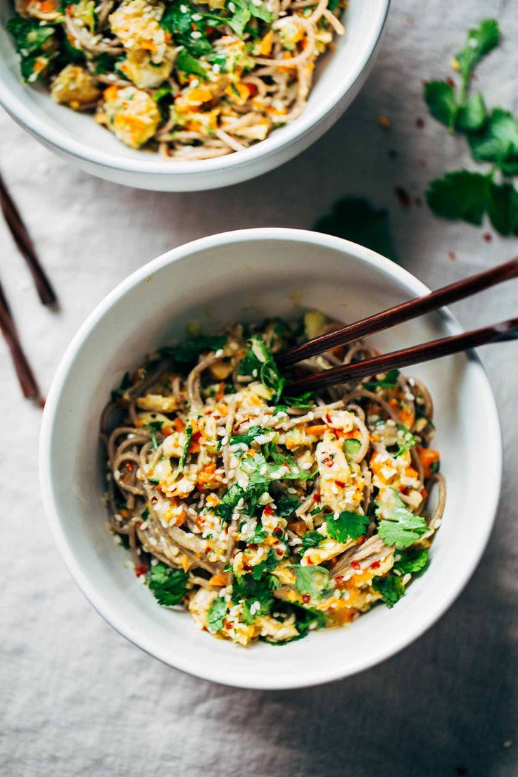 Chopped Chicken Sesame Noodle Bowls - soba noodles topped with peanut-sesame sauce, chopped veggies, shredded chicken, and a handful of fresh cilantro. 325 calories. | pinchofyum.com: