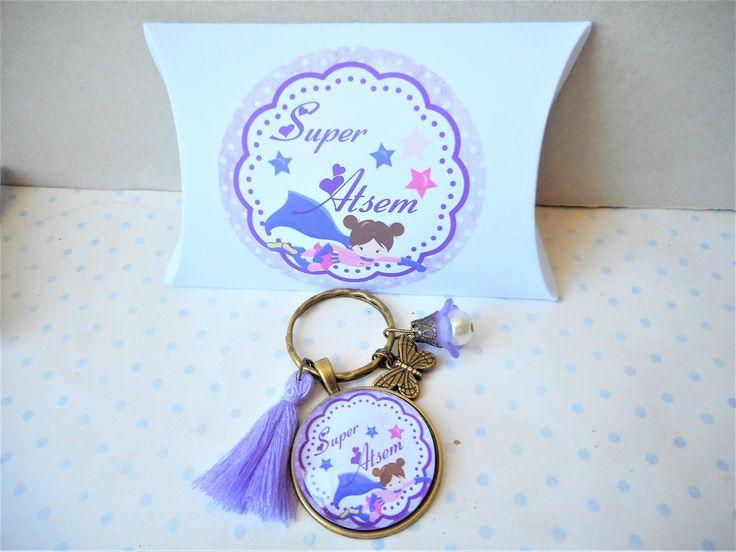 """Porte clés cabochon verre + boite cadeau """"super atsem"""" bronze, violet, mauve, pompon, papillon, fleur : Autres bijoux par miss-coopecoll"""