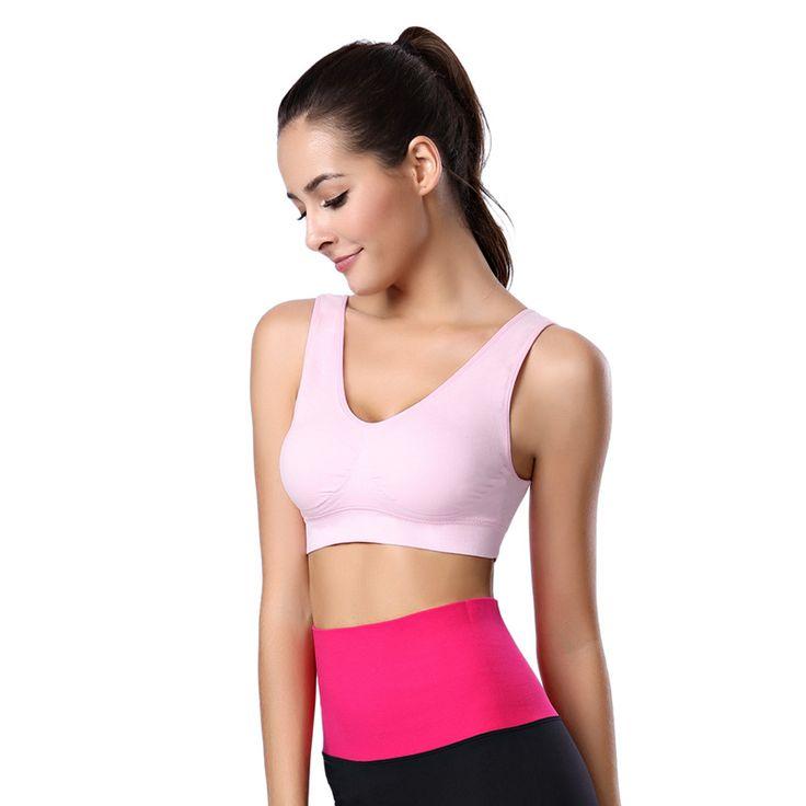 Sports Women Bras Aerobics Wire Free Top Sweat Push Up Yoga Vest High Elastic Underwear Fitness Tank Slim Female 5 Color HSNY081 #Affiliate