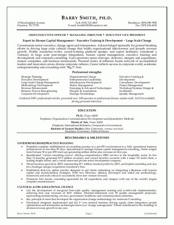 Executive Resume Example Executive Resume Builder Resume