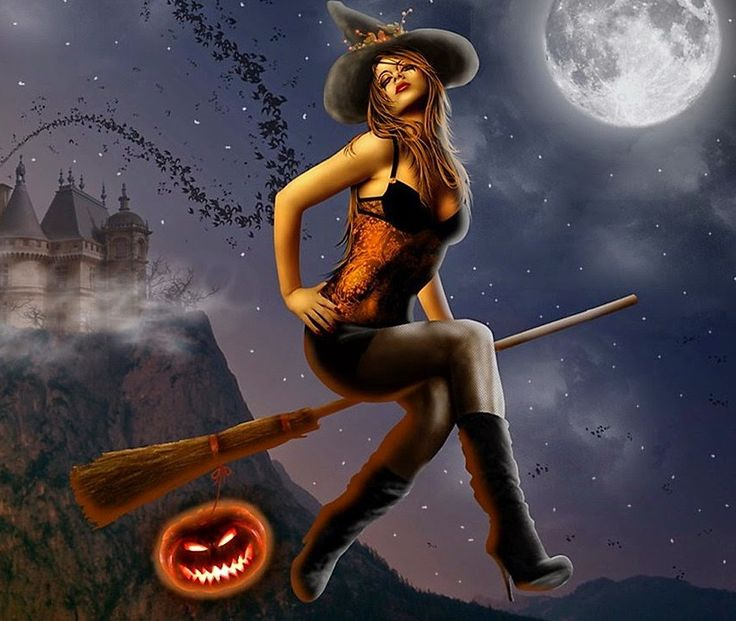sexy halloween witch on a broom pin up - Naughty Halloween