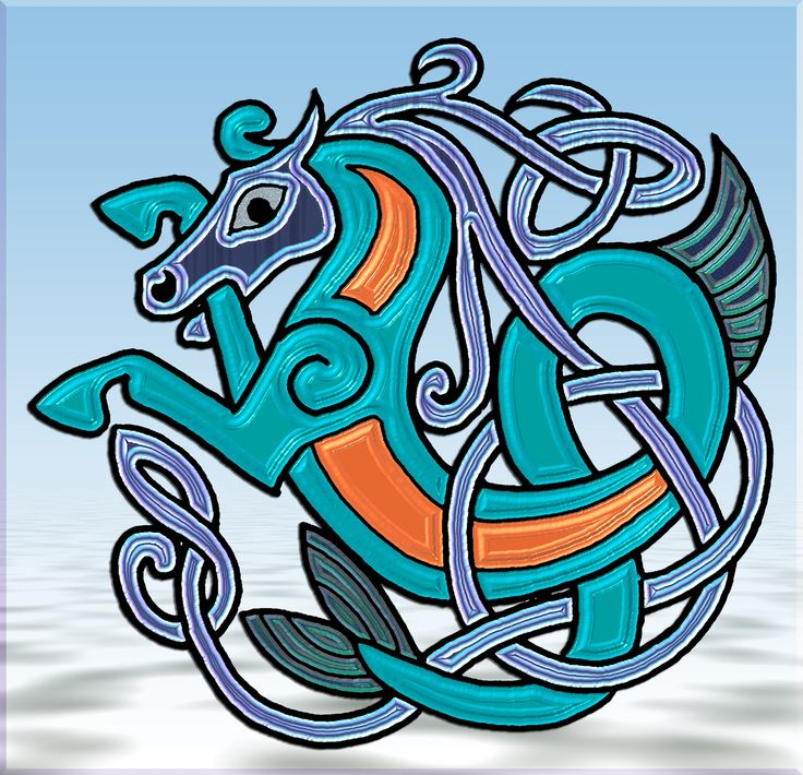 Celtic Seahorse 02 Celtic Pictish Viking Awesome