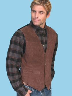 """Mens Boar suede """"Expresso"""" Western vest by Scully with dark plaid shirt"""