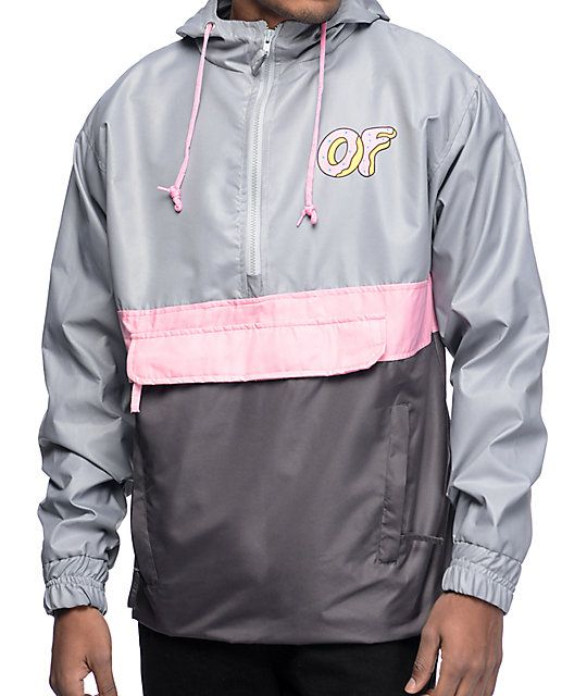 Protect yourself with the added style that comes from Odd Future. Tyler the Creator brings hip hop to fashion with the grey and pink anorak jacket from Odd Future, featuring an OF donut logo on the left chest and larger on the back. The added benefit of s