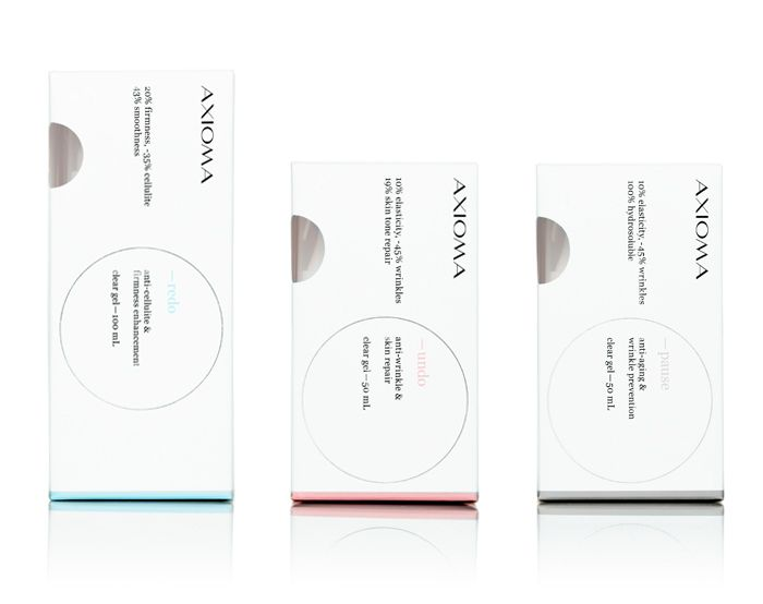 Axioma cosmetic packaging designed by Anagrama.