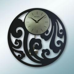 Lazer Kesim Sarkaçlı Duvar Saati Siyah Renk 1161B
