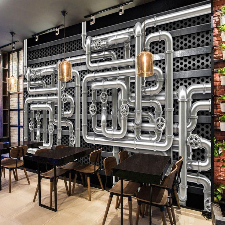 Pas cher Livraison Gratuite restaurant fond d'écran 3D industrielle lourds…