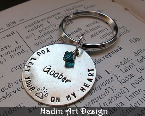 Metal Hand Stamped Key Chain with Birthstone  from NadinArtDesign by DaWanda.com