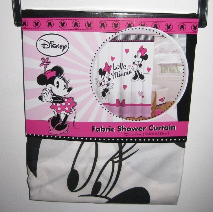 Disney Minnie Mouse Love Hearts Bathroom Shower Curtain BRAND