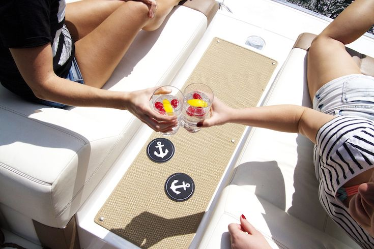 Get me to the cottage! Tis the season for boat lounging - use the Vessel Coasters Anchors Aweigh coaster to keep your drink in place!