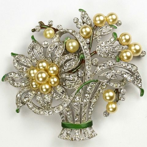 Trifari 'Alfred Philippe' Pave Pearl and Enamel Flower Basket Pin Clip