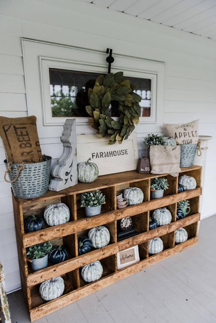 Farmhouse Wooden Curio Porch Cabinet