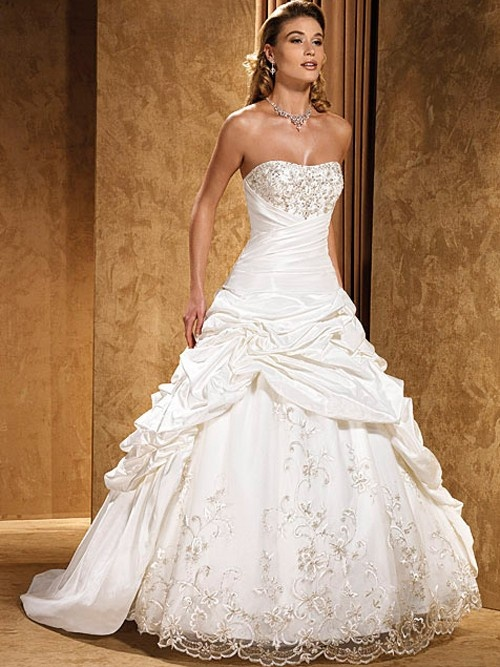 chinamarry Ball Gown Taffeta Strapless Tube Top Lace-up Natural Sweep Wedding Dresses With Cascading Ruffle - Ball Gown Wedding Dresses - Wedding Dresses