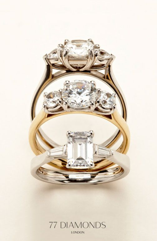 Representing past, present and future, our trilogy engagement ring collection. #proposal #engaged