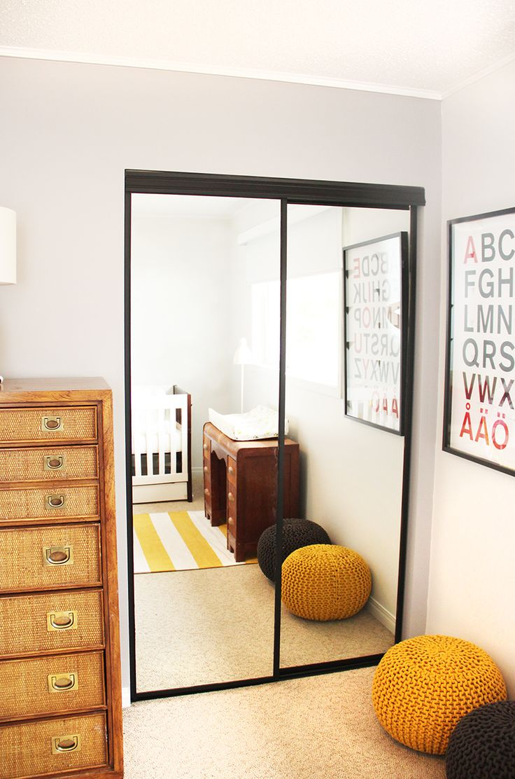 Painted Closet Doors, a DIY on painted outdated brass frame mirrored closet doors to stylish modern black.