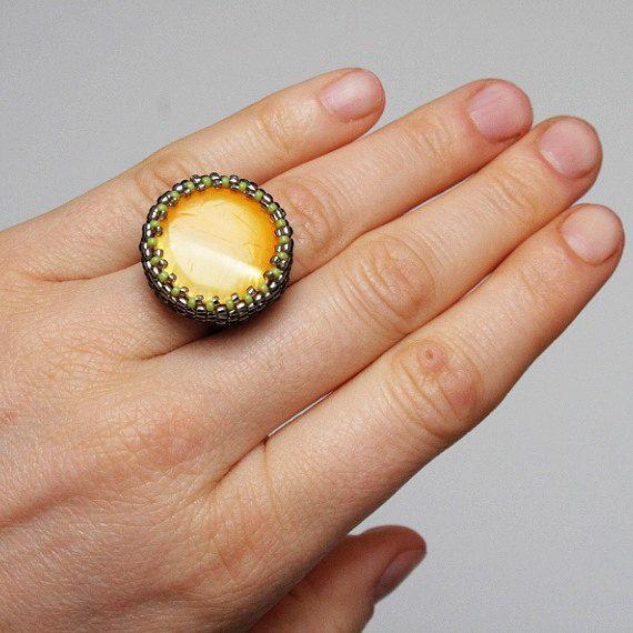 yellow ring beadwoven ring seed bead ring beaded by koralikowyraj, #yellowring, #bigring, #womanring, #koralikowyraj