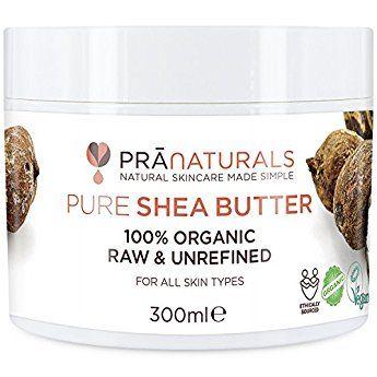 PraNaturals Shea-Butter Creme aus 100% biologischem Anbau, UV-Schutz für alle Hauttypen - reduziert Akne, Narben, Schwangerschaftsstreifen, Zellulite, Ausschlag und trockene Haut - und es pflegt und repariert Haare, Hände, Füße, den Körper, Ellenbogen, Knie und ist reich an Vitaminen, roh, rein und unverarbeitet (300ml)