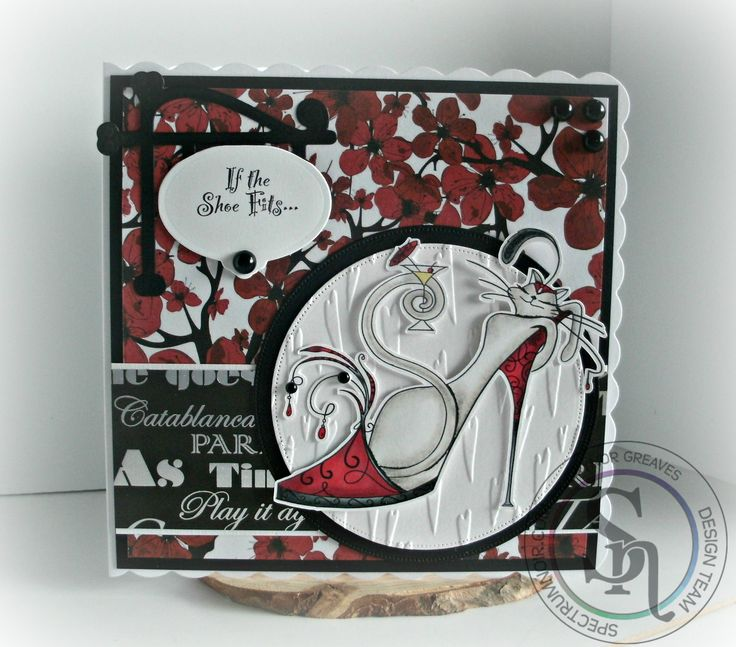 Designed by Gaynor Greaves - 7 x 7 inch card using Cattitude paper pad, embossing folder and dies - Spectrum Noir alcohol pens and blendable pencils DR2 IG4 - CT1 - 117 - 119 - 120. #spectrumnoir #crafterscompuk #catitude #handmade #card #stamping #colouring