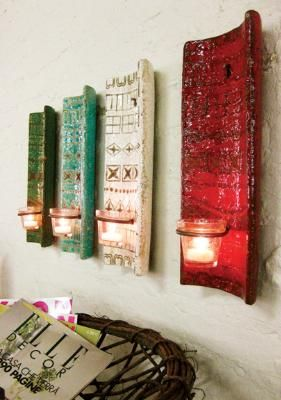 colorful clay wall sconces  try with additive/subtractive tile lesson  add holes for wire holders