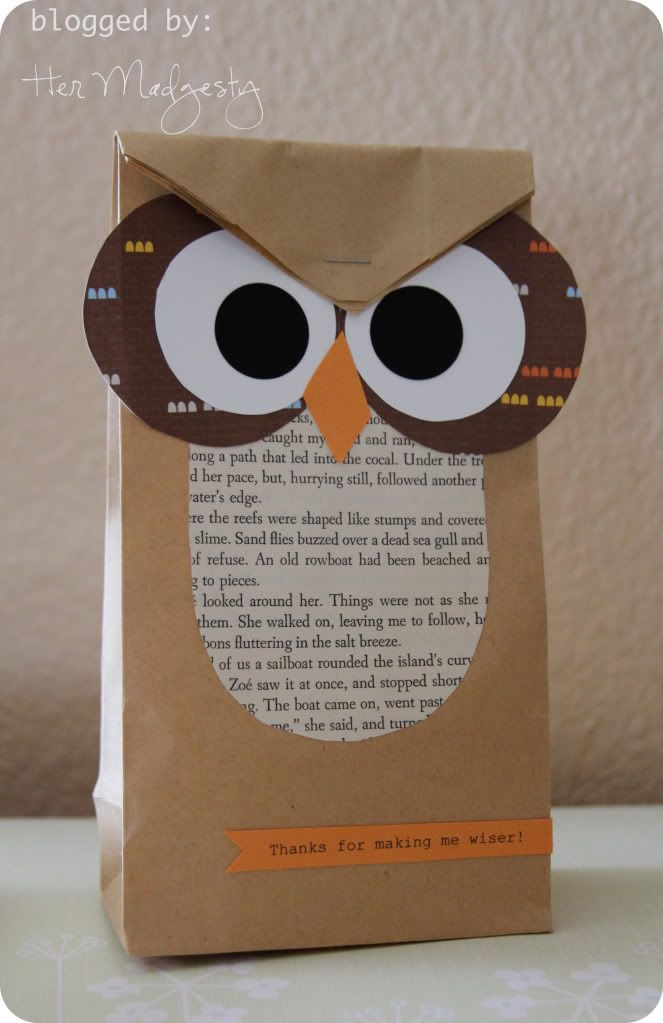 Treat bags for teachers  HER MADGESTY: Halloween OWL Treat bag