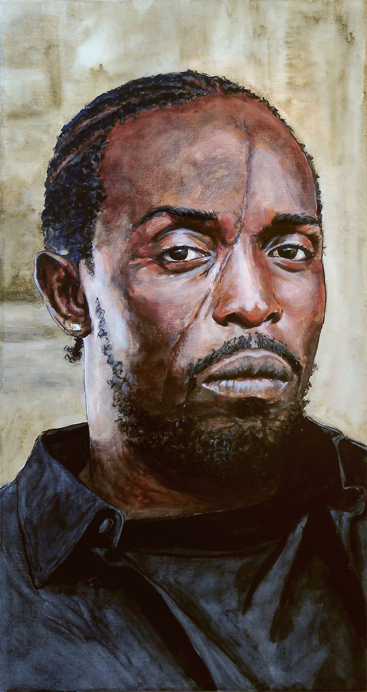 Omar Little from The Wire in Ink and Paint on a 30x16in Canvas