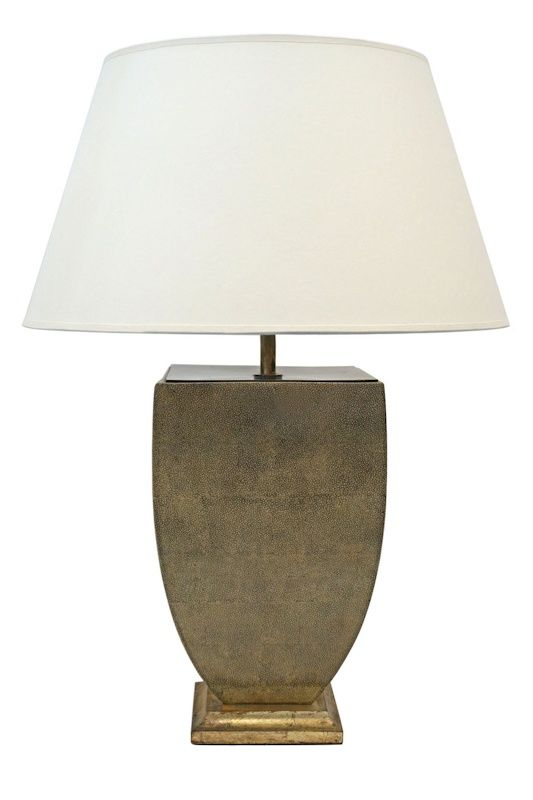 Urn Shaped Shagreen Clad Table Lamp (Lampshade Not Included). Italy, Circa  1950
