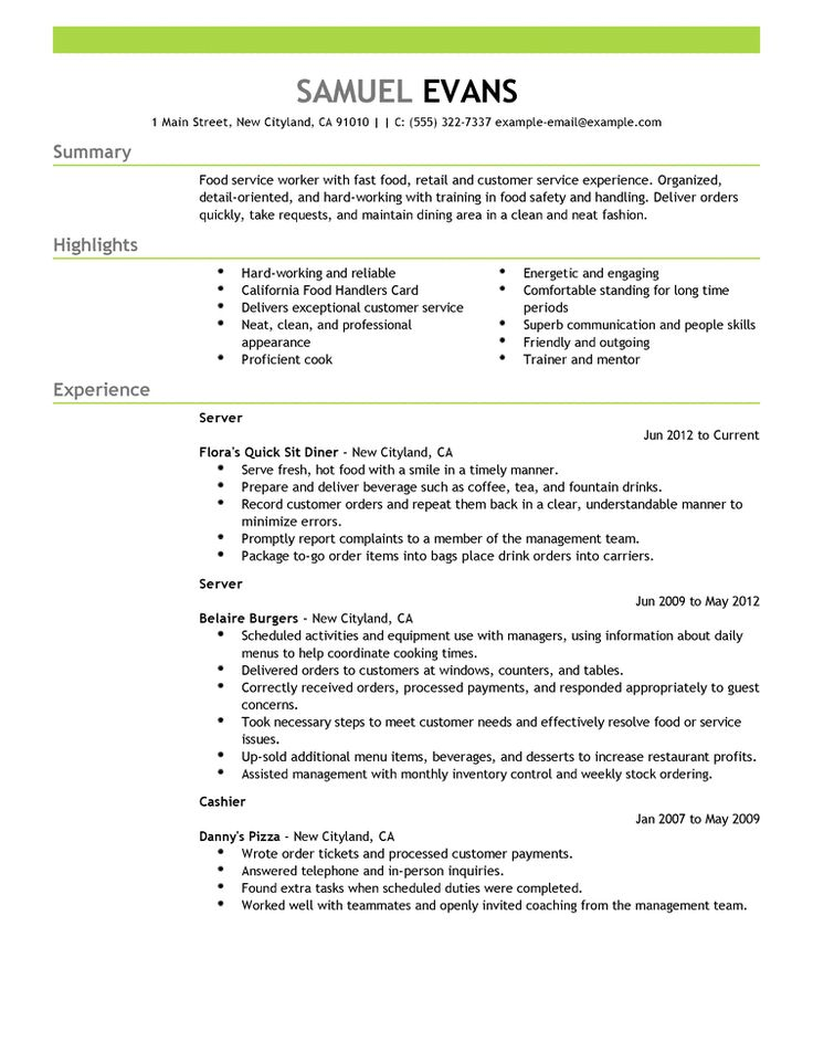 27 best Resume Cv Examples images on Pinterest Cv design - resume for food server