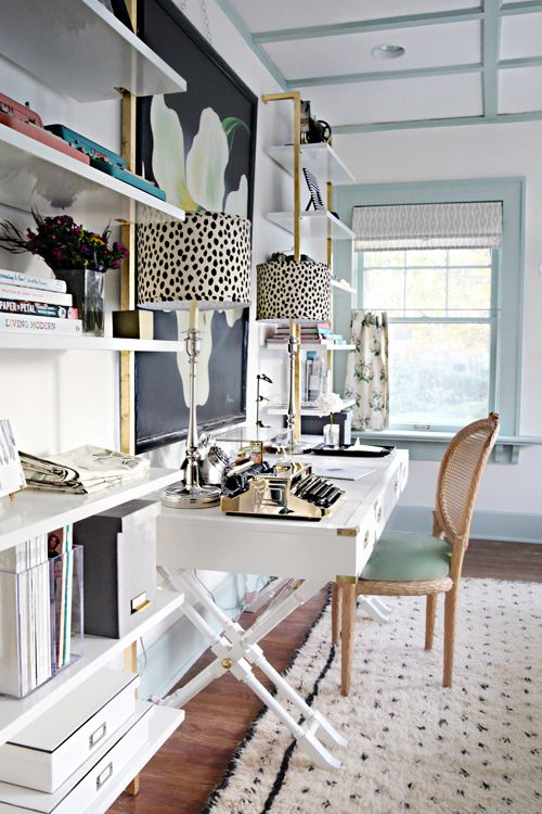 Colorful combination guest bedroom/home office. So many great ideas from IHeart Organizing: A Storied Style