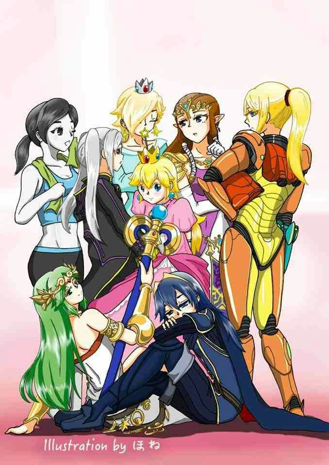 I just realized something... most of those girls are half boy.. Wii fit trainer and robin can be female or male. Lucina and Zelda both pretended to be a man in their games. Then, people thought samus was a man before she revealed she was a women... Pffft, gurls these days..