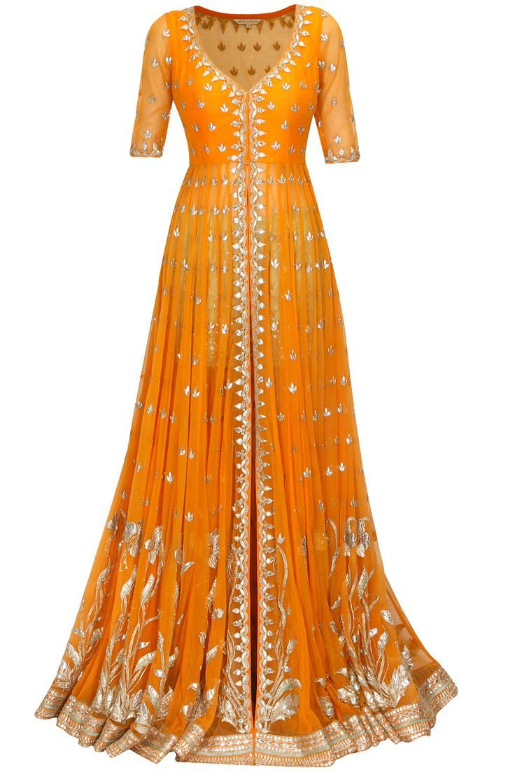 Yellow Suit with Golden Gota Embroidery..