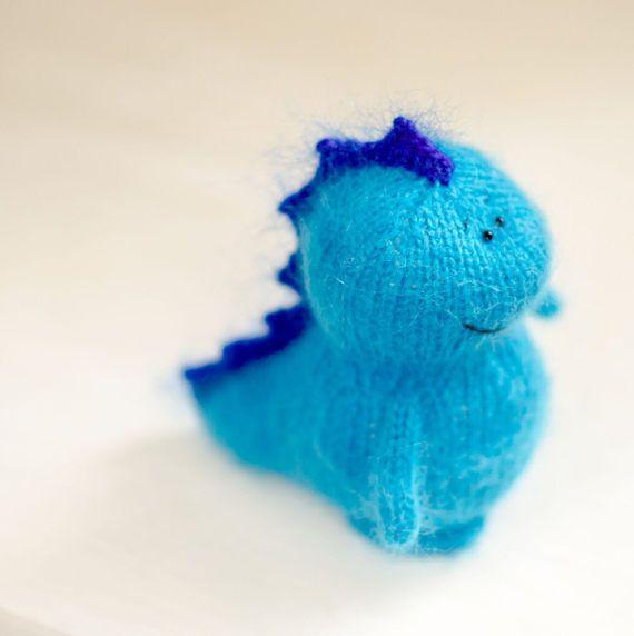 Amigurumi blue dragon plush dragon toy miniature dragon knit