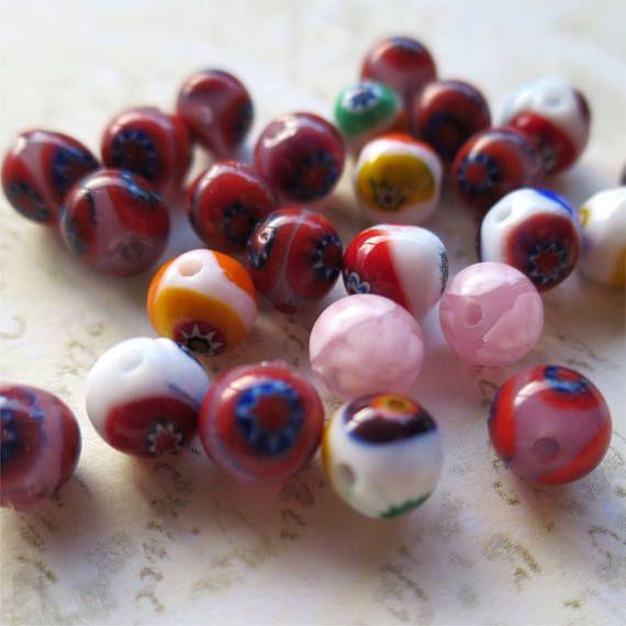 Venetian glass beads round small mixed millefiori