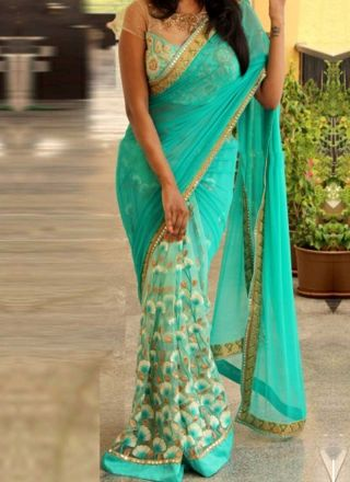 Turquoise Half N Half Embroidery Work Thread Work Net Party Wear Sarees http://www.angelnx.com/Sarees