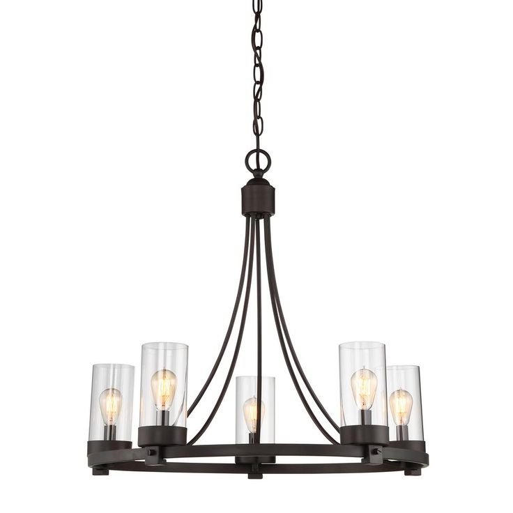 filament design 5light oil rubbed bronze chandelier with clear glass shade