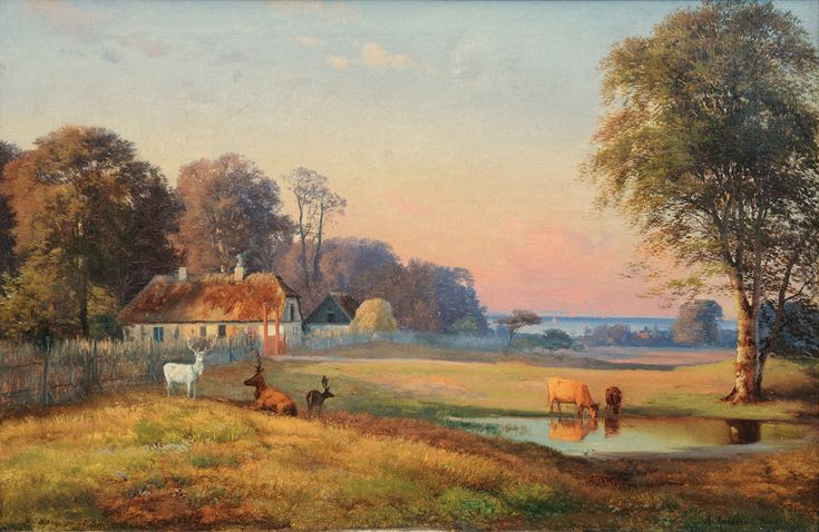 Summer Landscape with Stags in a Deer-Park, with View on the Baltic Sea Andersen Lundy