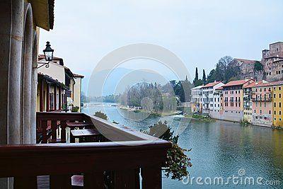 Colorful houses on the Brenta river in Bassano del Grappa, Veneto, Italy.