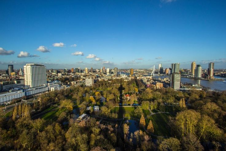 View from the Euromast (Eurotower) over the city park in Rotterdam.