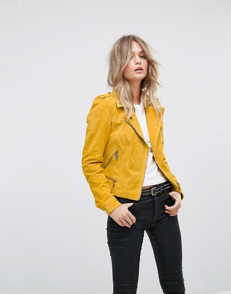 Vero Moda Suede Biker Jacket - Gold