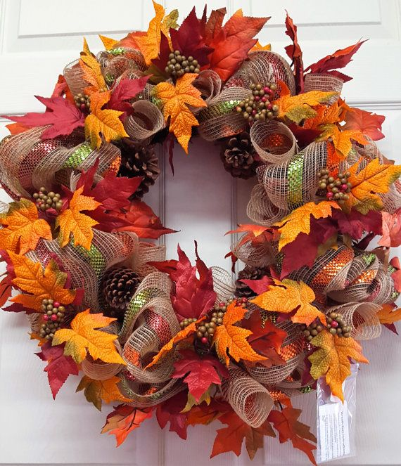 Fall Wreath, Fall Grapevine Wreath, Fall Mesh Wreath, Thanksgiving Door/Wall Décor  Simple, but Elegant! Very lightweight and fast to hang! Keep the box to store it in later! 1~2~3 youre done!  Measures 24 x 24 Round and extends out from door/wall 8