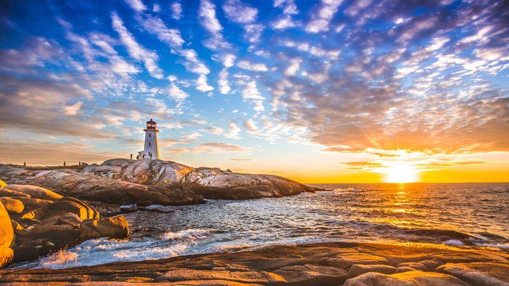 El famoso faro de Peggy's Cove, Nueva Escocia, Canadá