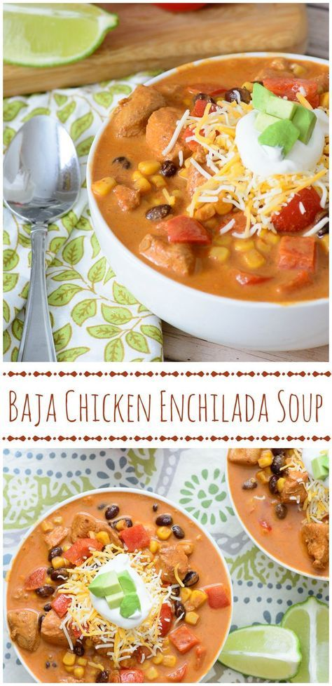 Cozy up with this tasty One Pot Baja Chicken Enchilada Soup! It's healthy, hearty, and full of robust flavor! If you only ever make one mexican soup recipe, it should be this one!