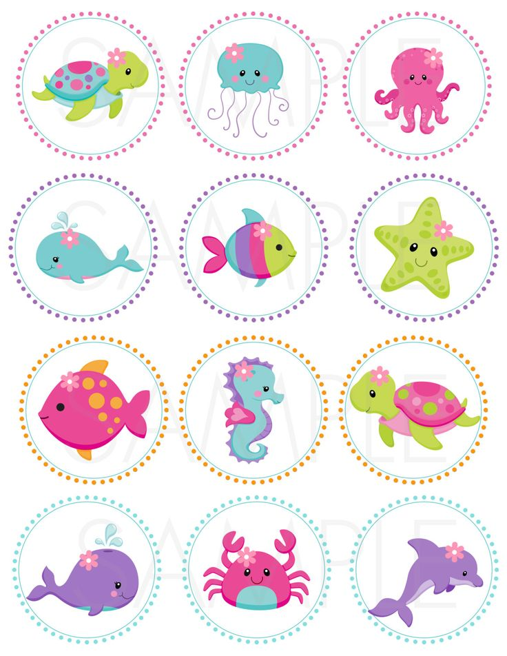 Pink Under the Sea 2 Printable Cupcake Toppers /Gift
