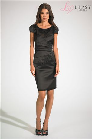Buy Lipsy Embellished Neck Pleated Shift Dress from the Next UK online shop