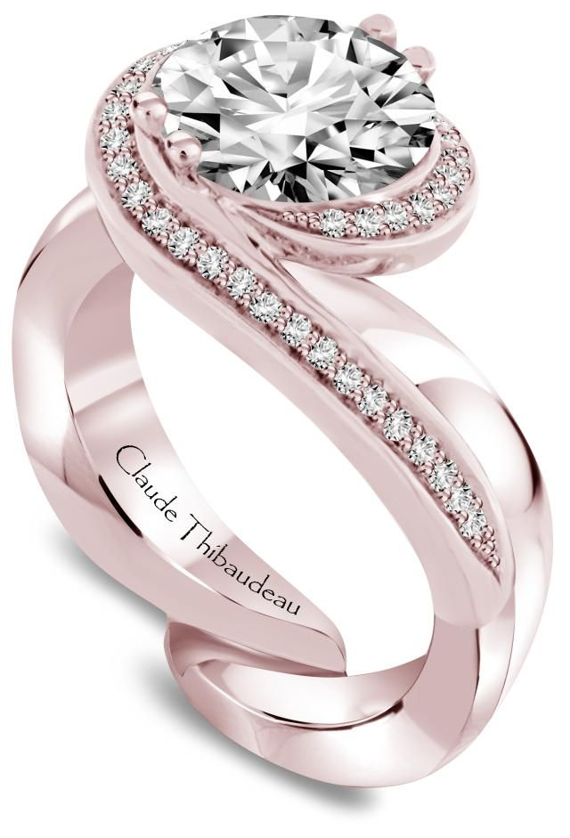 """12 Birthstone Engagement Rings--Starting with January's """"Garnet Girls."""" And this is a diamond design for lucky April Girls! (Or any woman, who loves unique diamond/rose gold #engagementrings!) #ClaudeThibaudeau"""