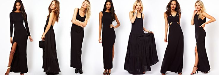Vestito nero lungo con spalline
