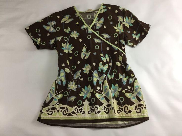 Floral Scrubs Women's V-Neck Brown Uniform Medical Women Cotton Shirt size S #SCRUBS